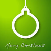 在绿色背景上的白色圣诞球贴花 — 图库矢量图片