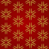 Christmas red seamless background with gold snowflakes — Stok Vektör