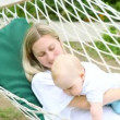 Happiness baby with mother in hammock — Stock Video