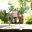 Children with mother walking in a park — Stock Video