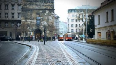 PRAGUE - DECEMBER 24: Beautiful timelapse night view of the city road with cars on December 24, 2012. — Стоковое видео