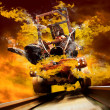 Demon on traine in fire flames oo the speed — Stock Photo #6359998