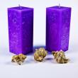 Cockleshells y velas violetas — Foto de Stock
