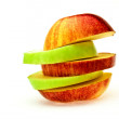Stock Photo: The cut red and green apple