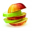The cut red and green apple — Stock Photo