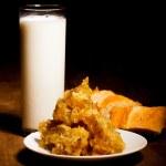 Milk, honey, bread — Stock Photo #30971465