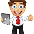 Stock Vector: Business Man - Thumbs Up With Tablet