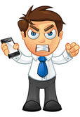 Business Man - Angry With Mobile — Stock Vector