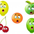 Stock Vector: Cartoon Fruit Set 4