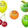 Stock vektor: Cartoon Fruit Set 2