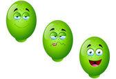 Cartoon Lime Fruit Set 4 — Stock Vector
