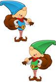 Elf Mascot - Holding a Sack — Stock Vector