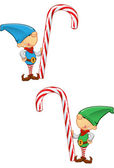 Elf Mascot - Holding a Candy Cane — Stock Vector