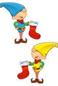 Elf Mascot - Holding Stocking — Stock Vector