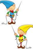 Elf Mascot - Needle And Thread — Stock Vector