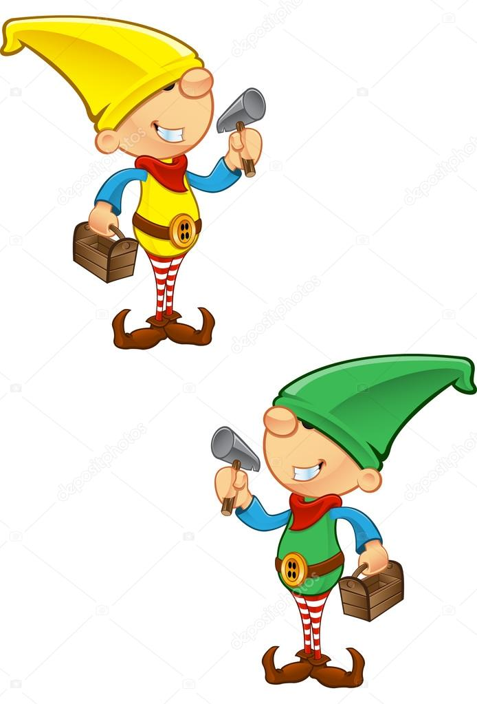 A vector illustration of an Elf holding a hammer and toolbox. — Stock Vector #14593089