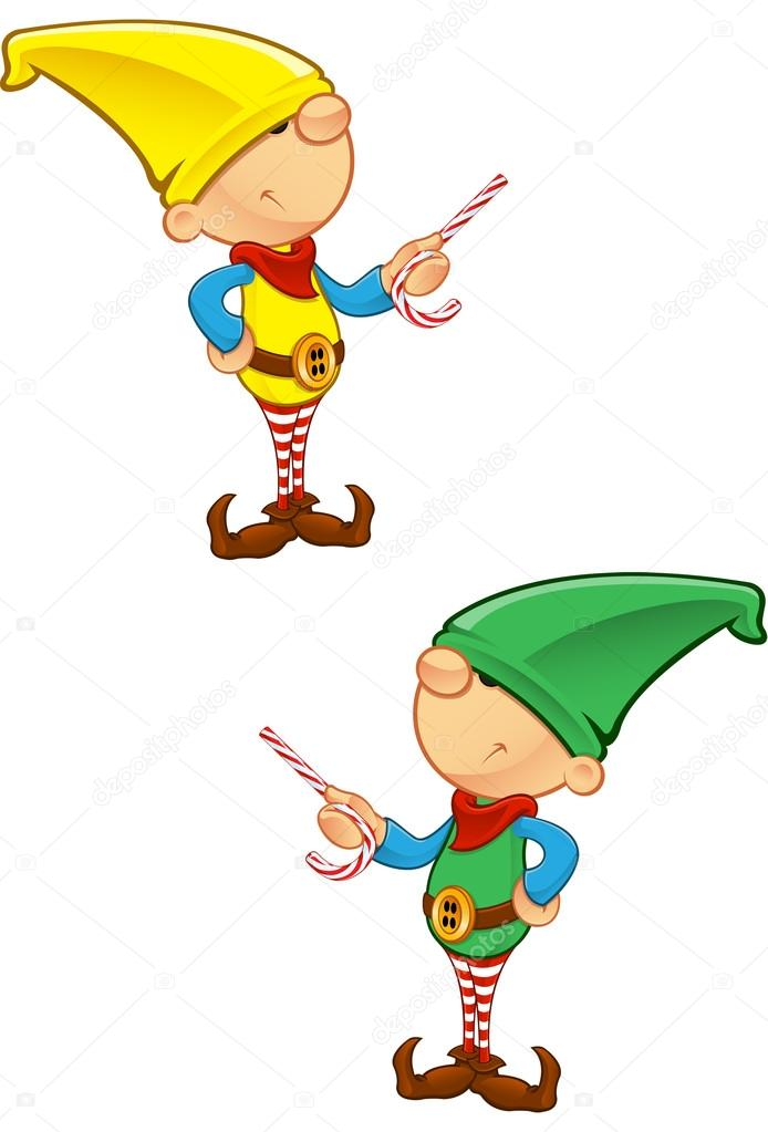 A vector illustration of an Elf Pointing with Candy. — Stock Vector #14593129