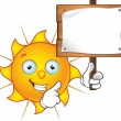Stock Vector: Sun Character - Holding Sign
