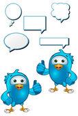 Blue Bird Character — Stock Vector