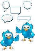 Синяя птица персонажа — Cтоковый вектор