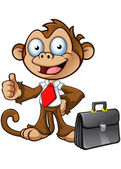 Business Monkey Character - Thumbs Up — Stock Vector