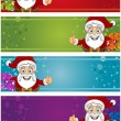 4 Christmas Banners - Santa — Stock Vector