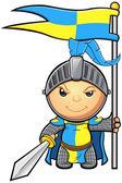Blaue und gelbe ritter charakter — Stockvektor