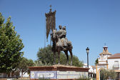Monument of a pilgrim cavalier in El Rocio, Almonte, Province of Huelva, An — Stock Photo