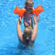 Girl with her mother in the swimming pool — Stock Photo #12629159