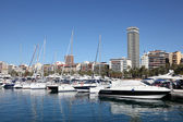 Yachts and boats in the marina of Alicante, Spain — Foto Stock