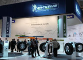 Michelin Tyres Stand at the International Motor Show — Stock Photo