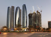 Skyscrapers in Abu Dhabi at dusk, United Arab Emirates — Stock Photo