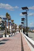 Promenade with solar powered lanterns in Duquesa, Costa del Sol, Spain — Stock Photo