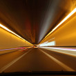 Driving through a tunnel at night — Stock Photo