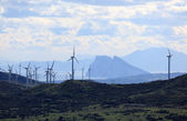 Landscape in southern Spain. Wind turbines and the rock of Gibraltar — Stock Photo