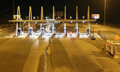 Highway toll collection point at night in Spain — Stock Photo