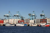Container terminal in the port of Algeciras, Andalusia Spain — Stock Photo