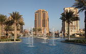 Fountain at The Pearl, Porto Arabia, Doha Qatar — Stock Photo