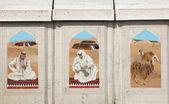 在多哈,卡塔尔传统贝都因人的生活场景马赛克 — 图库照片