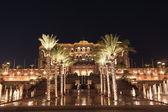 在晚上,阿布扎比酋长国宫殿阿拉伯联合酋长国 — 图库照片