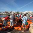 Fishermen at the fish market in Lagos, Algarve, Portugal — Stok fotoğraf