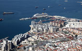 Aerial view of the Gibraltar city and harbor — Foto de Stock