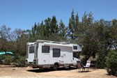 European Motorhome on a camping in Portugal — Stock Photo