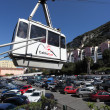 Gibraltar Cable Car at the base station. The cable car travels up the Rock of Gibraltar to the Ape&#039;s Den and to the Top of the Rock taking around 6 minutes - Stock Photo