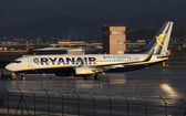 Ryanair airplane Boeing 737 at the airport of Malaga, Spain — Stock Photo