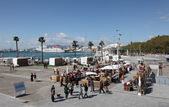 Market at the promenade Muelleuno in Malaga, Andalusia Spain — Stock Photo