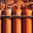 Stock Photo: Big propane gas bottles at refill station