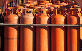 Big propane gas bottles at the refill station — Stock Photo