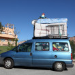 Overloaded van on the way to Morocco — Stock Photo