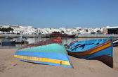 Fishing boats on the beach in Rabat, Morocco — Stok fotoğraf